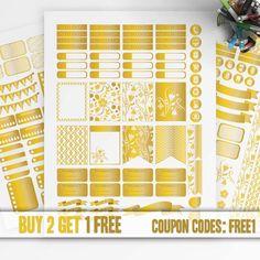 Golden Planner Stickers Printable, Erin Condren Sticker, Monthly - Weekly Sticker Kit, Printable Sampler, Erin Condren kit, Instant download
