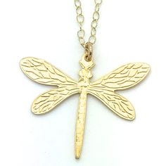 """Dragonfly is a 19"""" Long Gold Fill Chain Necklace and Toggle With a Delicate Dragonfly That Measures 1"""" Long With a 1 ⅜"""" Wing Span. The Dragonfly is 18k Gold Over Silver. Product #15-073"""