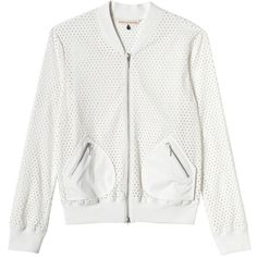 Rebecca Taylor Laser Cut Bomber Jacket ($119) ❤ liked on Polyvore featuring outerwear, jackets, coats, coats & jackets, chalk, blouson jacket, bomber style jacket, flight jacket, rebecca taylor jacket and zip front jacket