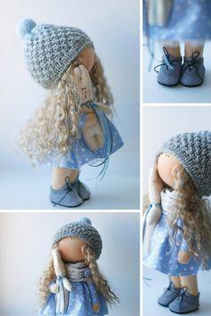 Bambola tilda blu Art bambola fatta a mano di AnnKirillartPlace