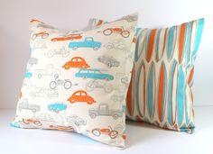 Decorative Pillow Cover - Mid Century Surfboard Orange & Turquoise on Natural - 18 x 18 Cushion Retro - Nursery Decor Boy - Home Decor. $16.00, via Etsy.