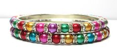 Size:~2.8 Large Awesome Pink 2 Sky Blue Color Faux Silver Look 33 gm 2 Pcs Brass Metal Base Bangle Bracelets Set BCBAUA8