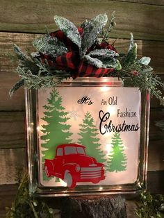Old fashion Christmas -Lighted glass block - holiday lights .- Old fashion Christmas -Lighted glass block – holiday lights – Red truck decoration – red truck -luminary – Christmas lights – light - Hanging Christmas Lights, Holiday Lights, Outdoor Christmas, Christmas Crafts, Christmas Ornaments, Xmas, Christmas Wood, Christmas Fashion, Christmas Signs