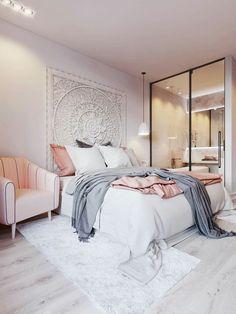 Beautiful Bedroom. Soft Colour Scheme. Wall Art In Lieu of Headboard.