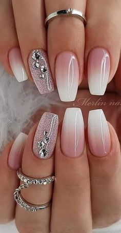 cute and amazing ombre nails design ideas for summer part 13 - # . - cute and amazing ombre nails design ideas for summer part 13 – # amazing - Nail Design Spring, Winter Nail Designs, Bridal Nail Art, Nagel Blog, Different Nail Designs, Ombre Nail Designs, Gel Nail Art Designs, Acrylic Nails Designs Short, Rhinestone Nail Designs
