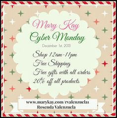 Hurry!  Mary Kay Pink Cyber Monday Sale! Free Shipping, 20% off, Free gift with Purchase and More! #cybermonday