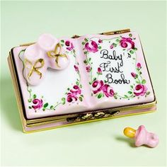 Limoges Baby Girl Book Box with Baby Shoes and Pacifier.