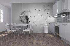 Dandelion - Black White - Fototapeter & Tapeter - Photowall