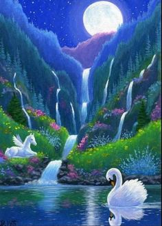 Swan pegasus foal horse waterfall moon fantasy limited edition aceo print art # Nature ilustrations Electronics, Cars, Fashion, Collectibles, Coupons and Beautiful Nature Pictures, Beautiful Moon, Beautiful Birds, Beautiful Landscape Wallpaper, Beautiful Paintings, Beautiful Landscapes, Art Et Nature, Image Nature, Nature Images