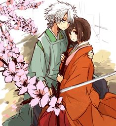 Toshiro and Hinamori #flowers #katana