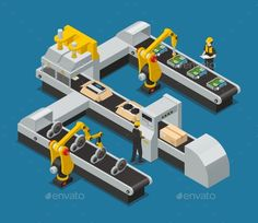 Colored car electronics autoelectronics isometric factory composition with robotized process in the factory vector illustration. E