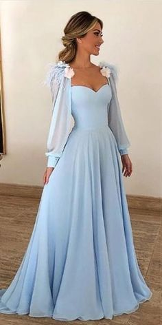Sky Blue Long Chiffon Prom Dresses with Sleeves Modest Formal Dress AR – Sheer. Sky Blue Long Chiffon Prom Dresses with Sleeves Modest Formal Dress AR – Sheer… Sky Blue Long Chiffon Prom Dresses with Sleeves Modest Formal Dress AR – SheerGirl Modest Formal Dresses, Winter Formal Dresses, Prom Dresses For Teens, Prom Dresses Long With Sleeves, Prom Dresses Blue, Evening Dresses, Maxi Dresses, Long Dresses, Dress Prom