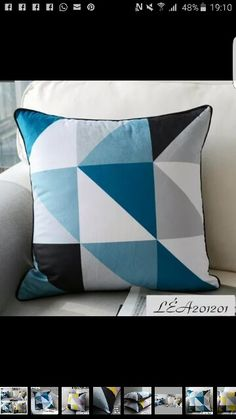 Ebay18x18'' Pillow Suede Cushion Cover Black Yellow / Blue White Geometric Pattern