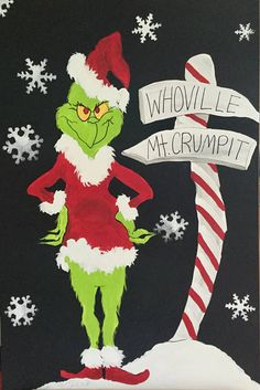 Welcome! Talk about a holiday conversation piece!! This is hand pained and three feet tall! Perfect Mantle or entry way piece! I only have one for now but may paint another... YESSSS! Its that Grinchy time when i begin to paint HImmmmmmm. You know WHO....#GRINCH THIS IS THE EXACT ONE YOU GET. 3ft tall Mantle painting says it all!;) Handpainted and ready to hang with d rings on the back!! Also check out my cute Grinch gourdaments Get one and give some or decorate your WHOLE tree like I d...