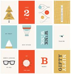 Bold colors, simple geometry  Holiday Gift Tags by Danielle Kroll, via Behance