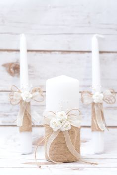 Rustic Wedding Candles Rustic Unity Candle Set Wedding Unity Candle Wedding Unity ideas Wedding Candles with Burlap Linen Roses lace Candle Wedding Centerpieces, Wedding Unity Candles, Rustic Candles, Floating Candles, Diy Candles, Pillar Candles, Wedding Decorations, Unity Ceremony, Wedding Ceremonies