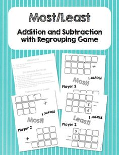 This is a set of materials that will allow kids to play two games about multi-digit addition and subtraction.  Kids roll dice to fill out their board and then determine the winner by doing the problem they have created!  A fun way to practice this skill,and a great addition to math centers.