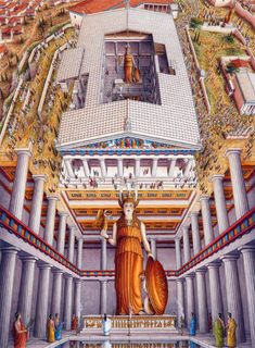 Stephen Biesty - Illustrator - Inside-out Views_Parthenon, statue of the godess Athena. Plans Architecture, Ancient Greek Architecture, Historical Architecture, Parthenon Architecture, Ancient Greek Art, Ancient Rome, Ancient Greece, Egyptian Art, Ancient Aliens
