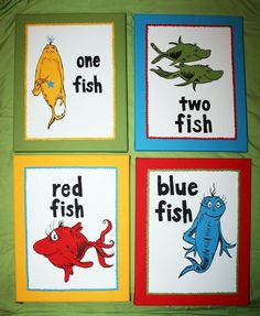One Fish Two Inspired Set Of 4 Dr Seuss Custom Paintings