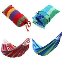 Brand new Material: Canvas/Nylon fabric Strong hammock with stand weight of 120Kgs Easy fixing, just fix the hammock with 2 binding strings and tie the strings to trees or poles Easy to carry and pack