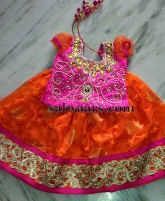 Orange Fuchsia Pink Gold Work Skirt | Indian Dresses