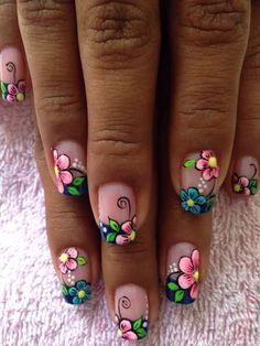 70 Trendy Spring Nail Designs are so perfect for this season Hope they can inspire you and read the article to get the gallery. Cute Nail Art, Cute Nails, Pretty Nails, New Nail Designs, Nail Designs Spring, Cute Spring Nails, French Tip Nails, French Tips, Flower Nail Art