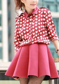 Pink Heart Shirt & Mini Skirt with Structured Pleats