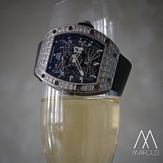 Sharing a glass with the Richard Mille RM022 baguette set unique piece tourbillon.