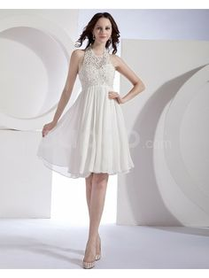 Organza and Chiffon Halter Neckline Knee-Length Column Wedding Dress with Embroidered