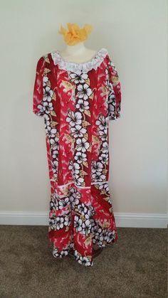 1970s Cotton Hawaiian Maxi Dress Hawaiian Mu Mu by PiecesBoutique