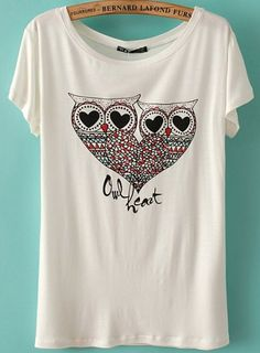 Not in love with the Ecru background but OWLS = <3 White Short Sleeve Owl Heart Print T-Shirt