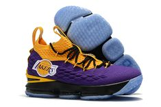 """half off e3b75 6c5af Nike LeBron 15 """"Lakers"""" Purple Yellow Black Basketball Shoes For Sale"""