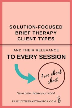 Solution-Focused Brief Therapy Client Types, and Their Relevance To Every Session — Family Therapy Basics Play Therapy Techniques, Therapy Tools, Art Therapy, Speech Therapy, Therapy Ideas, Therapy Worksheets, Therapy Activities, Group Activities, Problem Solving