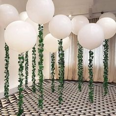 12 PACK / 36 inch Big Giant Jumbo White Balloons with Vines / Greenery / Garland - Perfect for Minimalist Rustic Weddings Celebrations! 12 PACK / 36 inch Big Giant Jumbo White Balloons with Jumbo Balloons, Big Balloons, White Balloons, Wedding Balloons, Bridal Shower Balloons, Hanging Balloons, Light Up Balloons, Baby Shower Themes, Baby Boy Shower