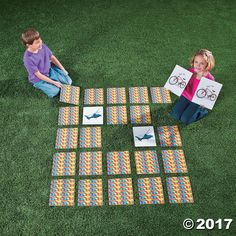 This oversized matching game for kids is big fun! A great addition to your outdoor games, turn all the colorful cards upside down and let young learners flip ...