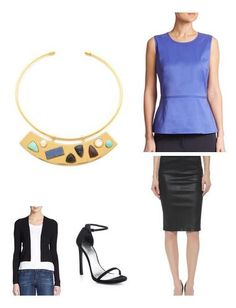 I love the beautiful color and tailoring of the peplum top - it pairs perfectly with an amazing pencil skirt while offering the perfect backdrop for a statement necklace. | Keatonrow.com