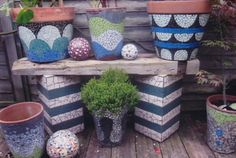 Mosaic Pots...top left is bold and effective