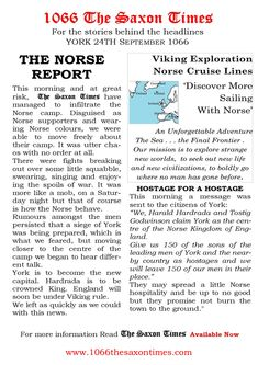 """HARDRADA PROMISES 'ORDERLY' TRANSITION For the full report behind these headlines and all the reports, read 1066 The Saxon Times. www.1066haroldsway.co.uk #thesaxontimes #davidclarke # historywalkstalksandbooks #1066 #history #tes #ks2, ks3 #anglosaxonengland #hardrada #york #battleoffulford #waterstones #amazon #britishdesignbritishmade # thebookkeeper Norse Vikings, The Headlines, Anglo Saxon, East Sussex, England, York, History, Amazon, Tes"
