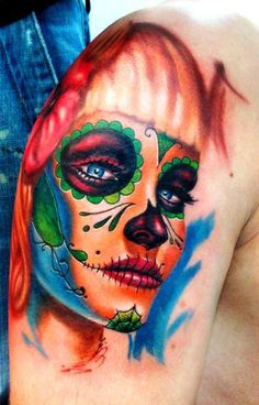 ~Sugar Skull Girl~ usually don't go for skulls but I love the color and shading
