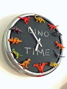 PUGG clock, chalkboard paint, mini dinosaurs, hot glue