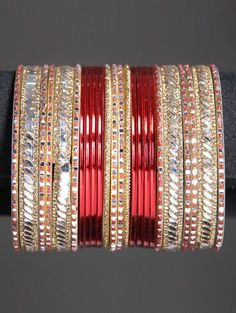 Indian Bangles set with two dozen Bangles in deep red and gold
