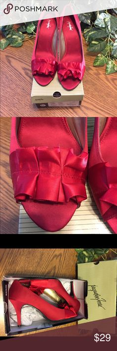 """Red Satin Jacqueline Ferrar Heels These are a beautiful pair of Jacqueline Ferrar Satin Shoes. The shoes have a 3.5"""" heel, open toe and super cute! Size 11 US ladies shoes.  Purchased for a wedding and only worn twice. Still in great condition!  Ships immediately! Jacqueline Ferrar Shoes Heels"""