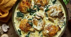 Spinach Stuffed Mushrooms, Stuffed Peppers, Bone In Chicken Thighs, Creamy Spinach, Chicken Thigh Recipes, Mushroom Chicken, Chicken Seasoning, Serving Size, Low Carb Recipes
