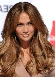 Brown Hair with Caramel Highlights For Prom Makeup