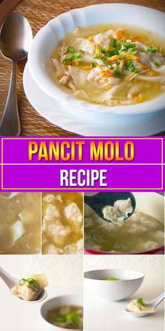 """Pancit Molo is also referred to as """"dumpling soup"""". Like all soups, the main foundation of this Pancit Molo recipe soup is a good stock. Try our Pancit Molo Filipino Dishes, Filipino Pancit, Filipino Recipes, Asian Recipes, Filipino Food, Healthy Recipes, Pinoy Food, Healthy Soups, Molo Recipe"""
