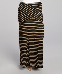 Take a look at the Black & Taupe Maxi Skirt - Plus on #zulily today!