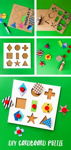 A Modern DIY Cardboard Shape Puzzle Use recycled materials to DIY your own super hip cardboard shape puzzle! A perfect learning toy for toddlers.Use recycled materials to DIY your own super hip cardboard shape puzzle! A perfect learning toy for toddlers. Kids Crafts, Toddler Crafts, Toddler Toys, Toddler Puzzles, Kids Toys, Diy Toys For Babies, Diy Kid Toys, Puzzles For Toddlers, Decor Crafts