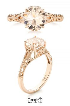 Custom Solitaire Morganite Filigree Engagement Ring