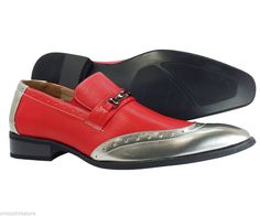 Mens Dress Shoes Majestic Collection Red Slip on Loafers Leather Lining Style  #Majesticollection #LoafersSlipOns