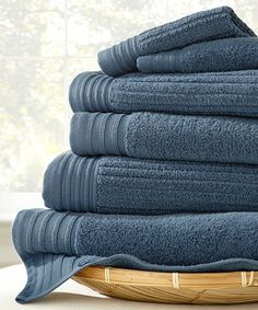 Loving this Denim Jacquard Egyptian Cotton Towel Set on #zulily! #zulilyfinds